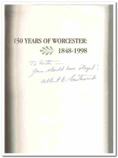 150 years of worcester 1848-1998 albert southwick signed book