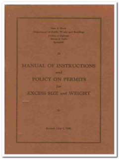 policy on permits for excess size and weight vintage book