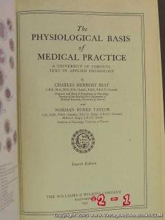 physiological basis of medical practice best taylor vintage book