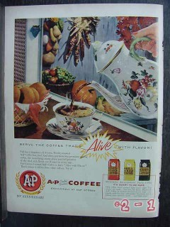 a and p coffee 1958 99th anniversary grocery vintage ad