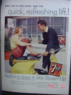 7up 1958 scooter the huddle bottle seven up vintage ad