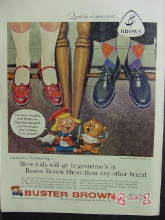 buster brown 1957 thanksgiving childrens shoes vintage ad