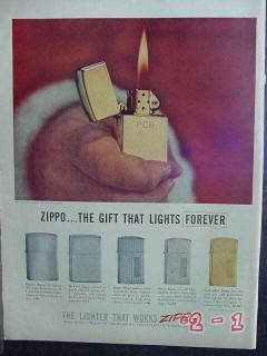 zippo lighters 1957 christmas gold silver cigarette lighter vintage ad