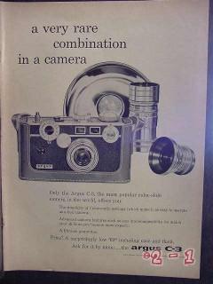 argus 1957 c-3 camera vintage ad