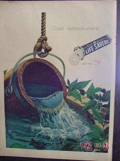 life savers 1957 cool well water refresh-mint candy vintage ad