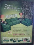 kroehler furniture company 1950 sofa chairs sectional vintage ad