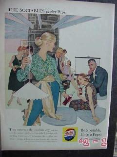 pepsi cola 1959 sociables prefer pepsi be sociable vintage ad