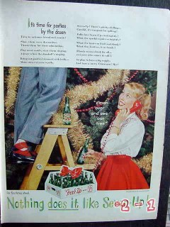 7up 1959 christmas tree seven up bottles case vintage ad