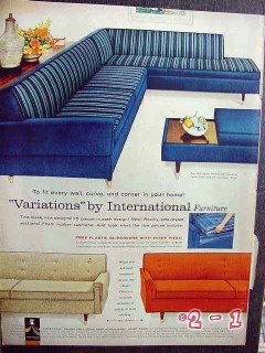 international furniture 1959 variations fit every wall sofa vintage ad