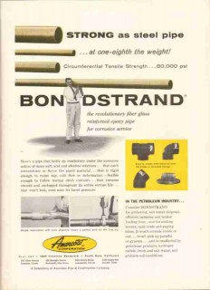Amercoat Corporation 1959 Vintage Ad Oil Gas Pipeline Bondstrand Pipe