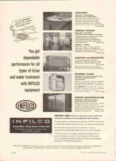 Infilco Inc 1959 Vintage Ad Gas Oil Brine Water Treatment Equipment