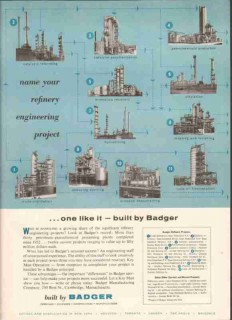 Badger Mfg Company 1959 Vintage Ad Gas Oil Refinery Design Engineers