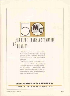 Maloney-Crawford Tank Mfg Company 1959 Vintage Ad Oil 50th Anniversary