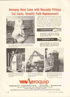 Aeroquip Corp 1959 Vintage Ad Oil Hose Lines Reusable Fittings