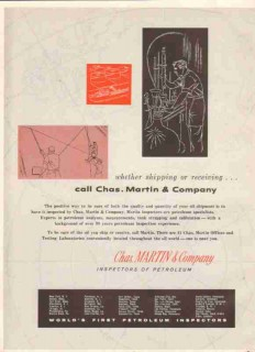 Chas Martin Company 1959 Vintage Ad Oil Petroleum Shipping Receiving