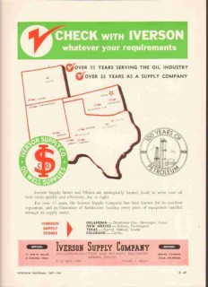 Iverson Supply Company 1959 Vintage Ad Oil Industry Requirements Check