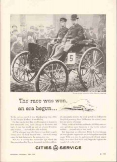 Cities Service 1959 Vintage Ad Oil Duryea Brothers First Car Race