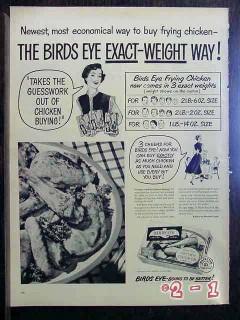 birds eye 1950 frying chicken frozen dinner exact-weight vintage ad