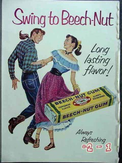 beech-nut gum 1952 square dancing cowboy couple vintage ad