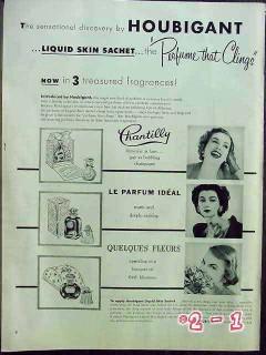 houbigant 1952 chantilly ideal quelques fleurs perfume vintage ad