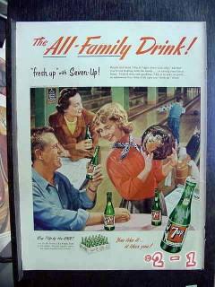 7up 1953 bowling 7up bottles vintage ad