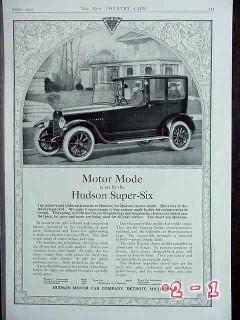 hudson super six 1917 limousine car vintage ad