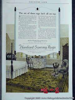 bigelow-hartford carpet 1925 hartford-saxony rugs vintage ad