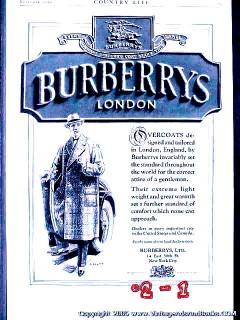 burberrys ltd. 1925 london art j scott mens overcoat vintage ad