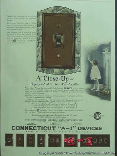 connecticut electric mfg company 1926 bakelite switch plate vintage ad
