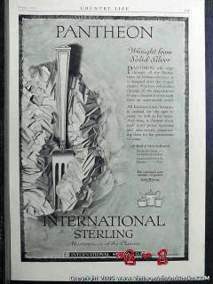 international sterling silver 1922 pantheon silverware vintage ad
