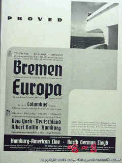 bremen europa 1935 cruise ship reliance vintage ad