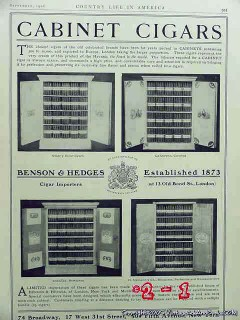 benson and hedges 1906 cabinet cigars nyc vintage ad