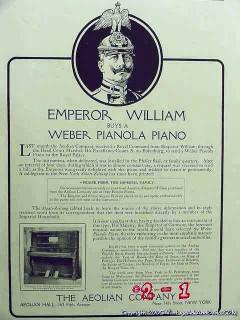 aeolian company 1906 weber pianola emperor william piano vintage ad