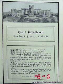 hotel wentworth 1906 oak knoll pasadena ca hotel vintage ad