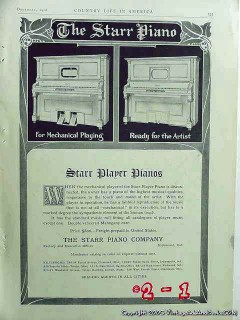 starr piano company 1906 mechanical player piano vintage ad
