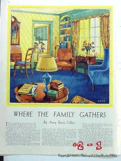 home decorating 1930 where the family gathers vintage article