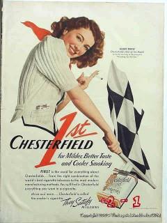 chesterfield cigarettes 1941 ellen drew reaching for sun vintage ad