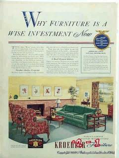 kroehler furniture company 1942 sofa chairs vintage ad