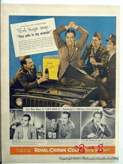 royal crown cola 1943 bob hope ww2 wwii bottle rc vintage ad