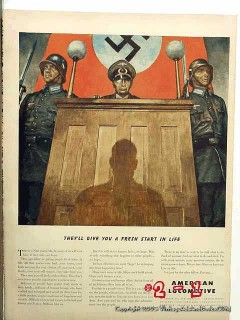 american locomotive 1942 nazi court ww2 vintage ad