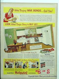 hotpoint 1943 ww2 war bonds refrigerator stove appliance vintage ad