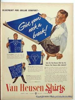 van heusen shirts 1943 blueprint collar mans shirt vintage ad