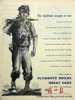 plymouth 1944 ww2 gun tank bombers lyle justis car vintage ad