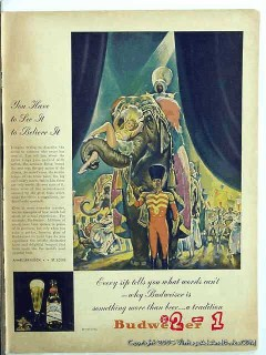 budweiser beer 1945 circus anheuser busch beer vintage ad