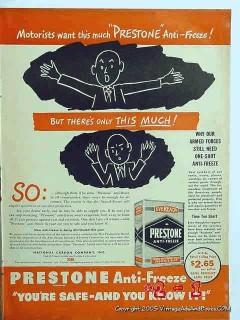 prestone anti-freeze 1945 ucc ww2 wwii car vintage ad