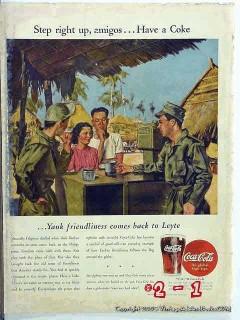 coca cola 1945 filipino american soldiers coke vintage ad