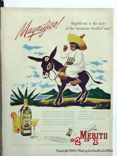 ron merito 1946 puerto rico rum donkey vintage ad