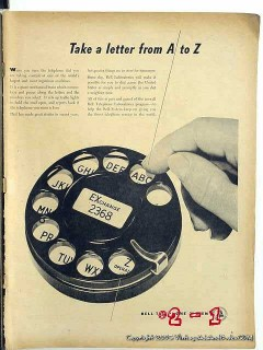 bell telephone system 1946 take letter from a to z dial vintage ad