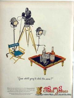 paul jones whiskey 1946 movie director chair camera vintage ad