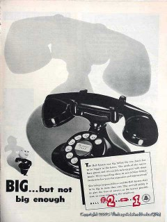 bell telephone system 1946 big but not big enough phone vintage ad
